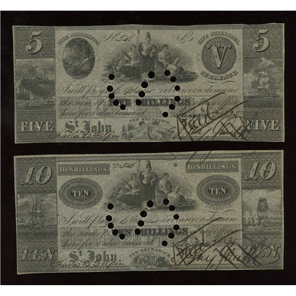 1835 Benjamin Smith 5 & 10 Shillings Saint John, NB