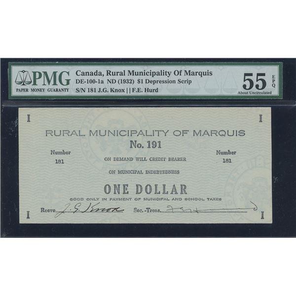 Canada, Rural Municipality of Marquis Saskatchewan $1, 1932