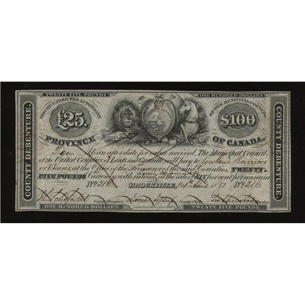 Brockville 1851 Municipal $100 Issue