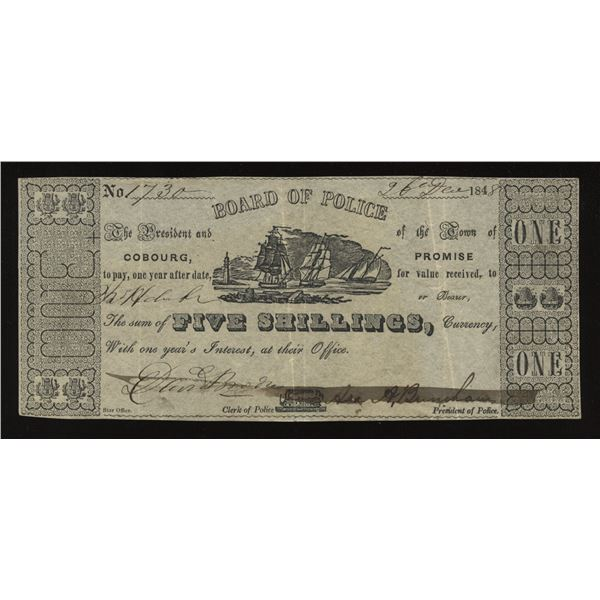 Cobourg Board of Police 1848 5s ($1) Municipal Issue