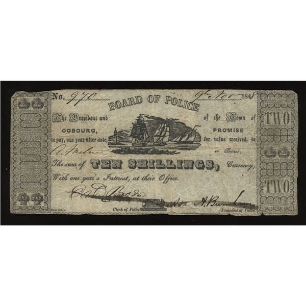 Cobourg Board of Police 1848 10s ($2) Municipal Issue