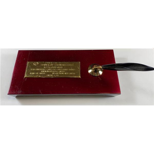 CIBC Financial Deal Tombstone Pen Holder
