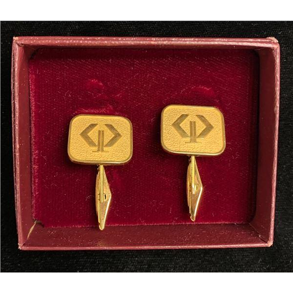 CIBC gold coloured cufflinks