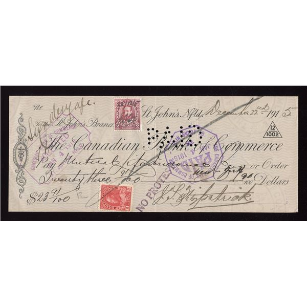 CIBC Cheque from 1915