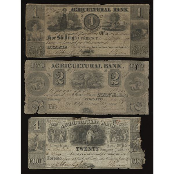 Agricultural Bank $1, $2, $4 lot (3)