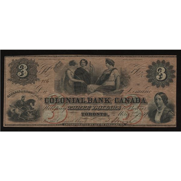 Colonial Bank of Canada $3, 1859