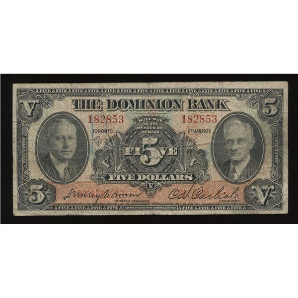 Dominion Bank $5, 1935