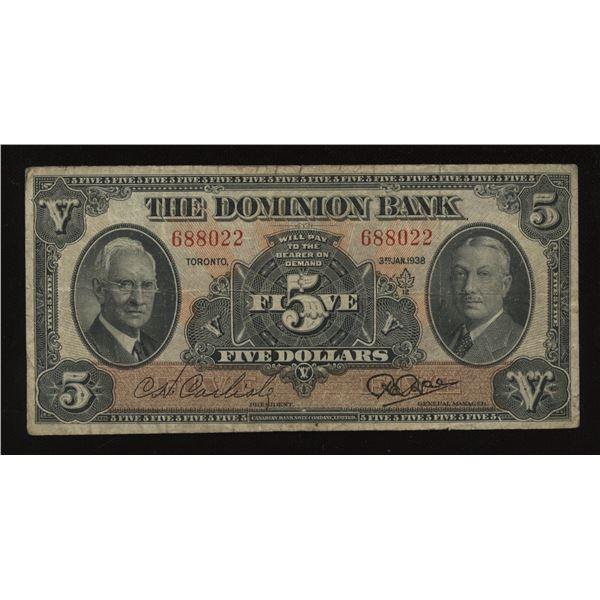 Dominion Bank $5, 1938