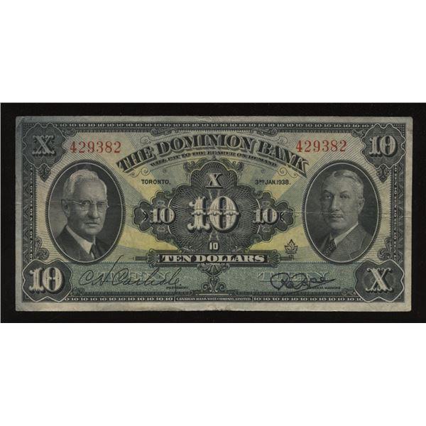 Dominion Bank $10, 1938