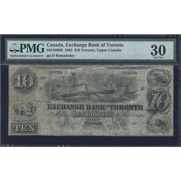 Exchange Bank of Toronto $10, 1855