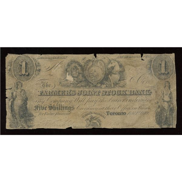 Farmer's Joint Stock Banking Co. $1, 1849