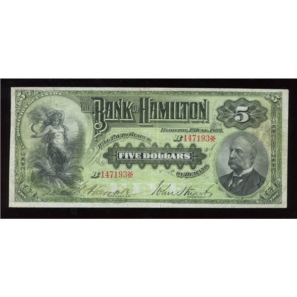"Bank of Hamilton, $5 1892, ""pro cashier"""