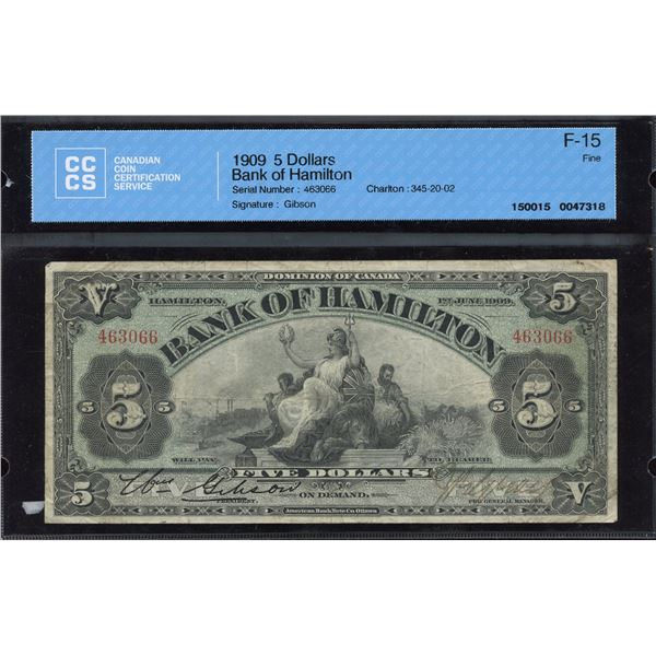 Bank of Hamilton $5, 1909