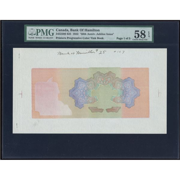 "Bank of Hamilton $25 1922 ""Jubilee Issue"" Printer's Progressive Color Tint Lot"