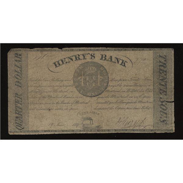 Henry's Bank Quarter Dollar, 1837