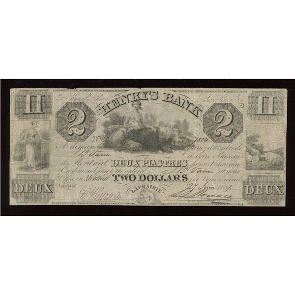 Henry's Bank $2, 1837