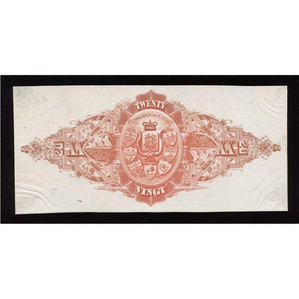Banque d'Hochelaga, $20 back proof, 1889