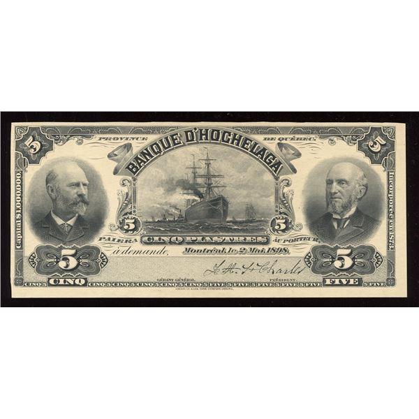 Banque d'Hochelaga $5, 1898 Proof