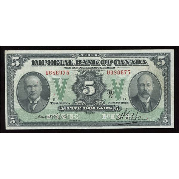 Imperial Bank of Canada, $5 1923