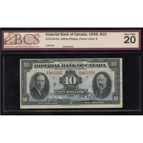 Imperial Bank of Canada $10, 1939