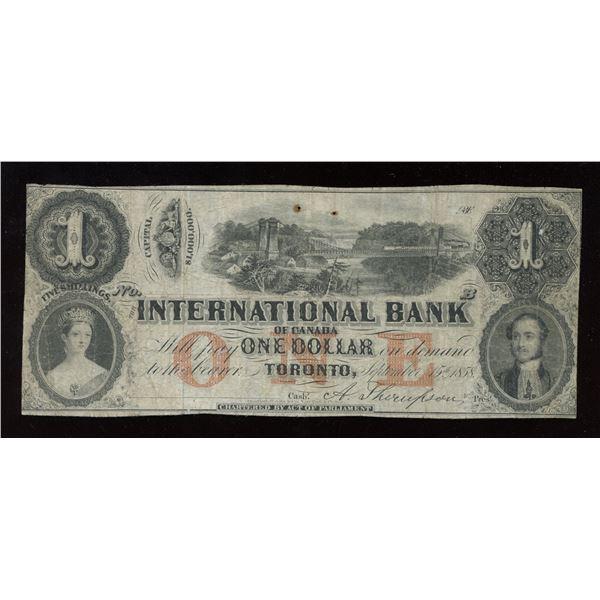 International Bank of Canada $1, 1858 Remainder