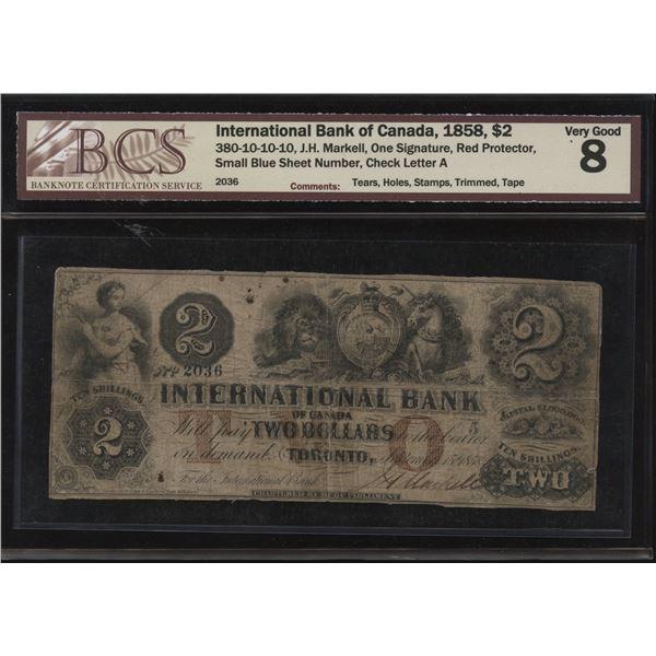 International Bank of Canada $2, 1858