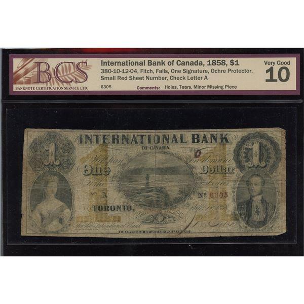 International Bank of Canada $1, 1858