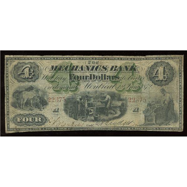 Mechanics Bank $4, 1872