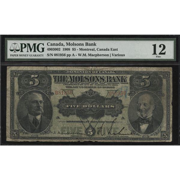 Molsons Bank $5, 1908