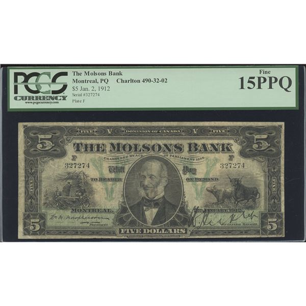 Molsons Bank of Canada $5, 1912