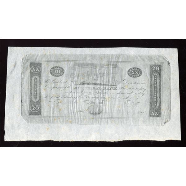 Montreal Bank $20, Counterfeit, Reprint.