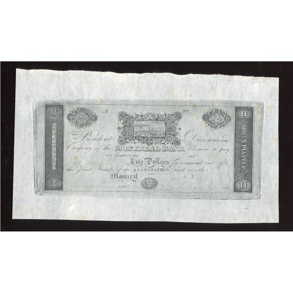 Montreal Bank $2, Leney & Rollinson Cntrft. Reprint.