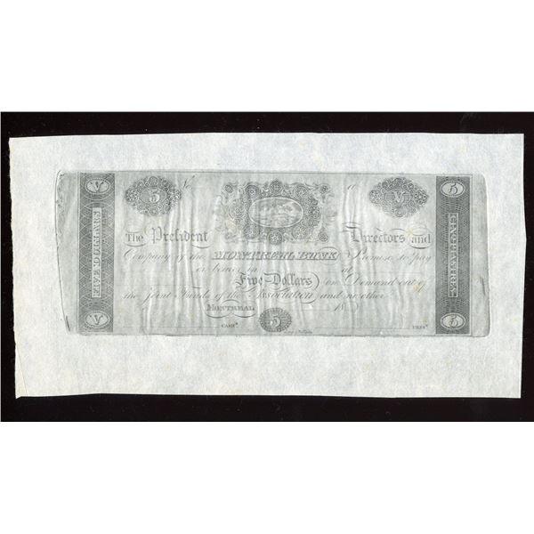 Montreal Bank $5, Leney & Rollinson Cntrft. Reprint.