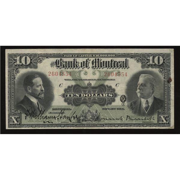 Bank of Montreal $10, 1914