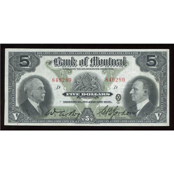 Bank of Montreal $5, 1931