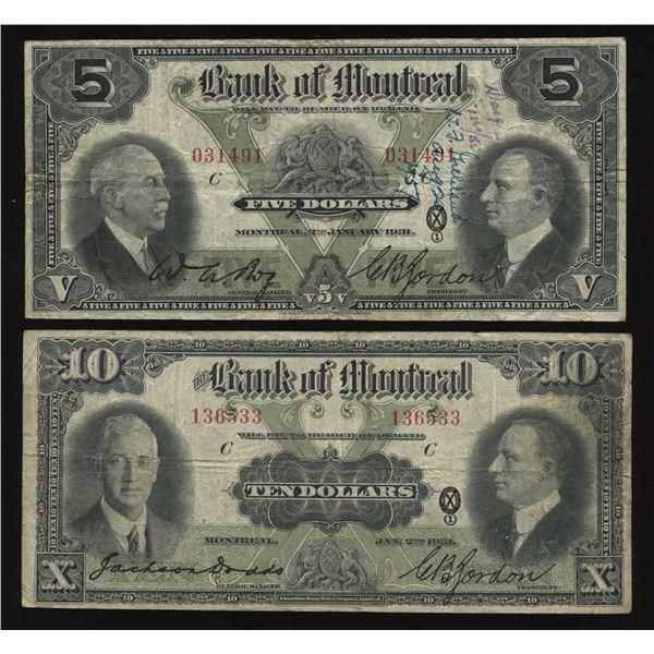Bank of Montreal $5 & $10 1931