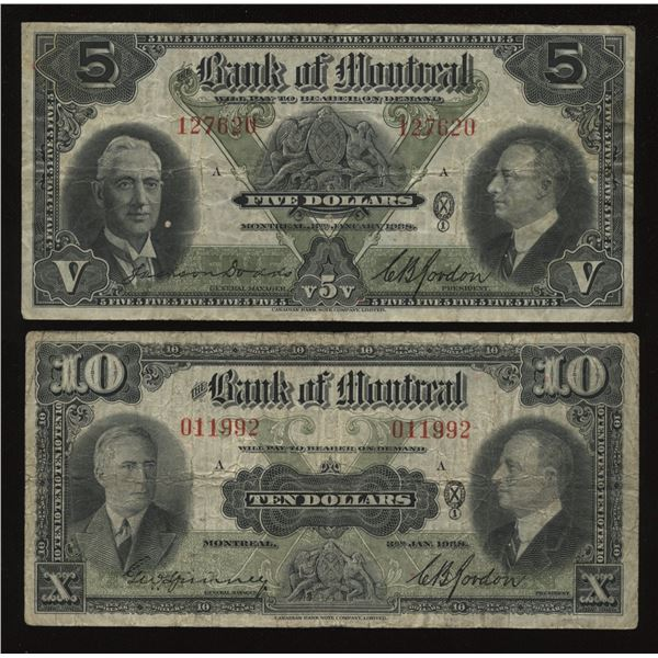 Bank of Montreal $5 & $10 1938