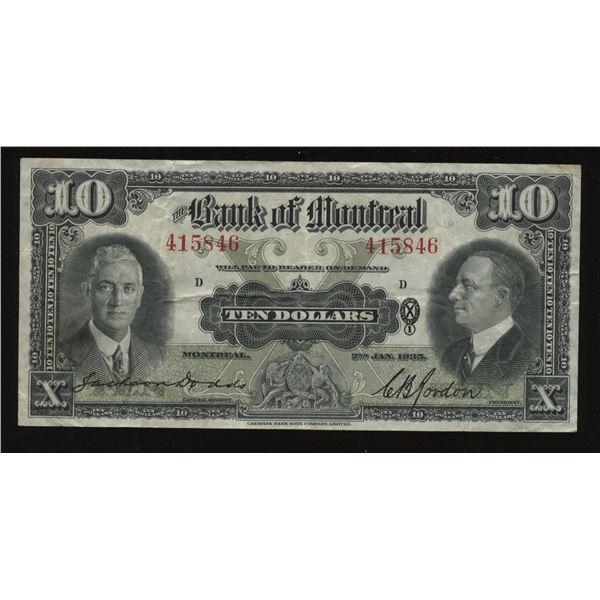 Bank of Montreal $10, 1935