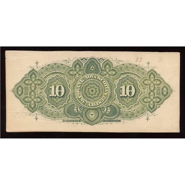 Bank of Nova Scotia $10, 1877 Proof