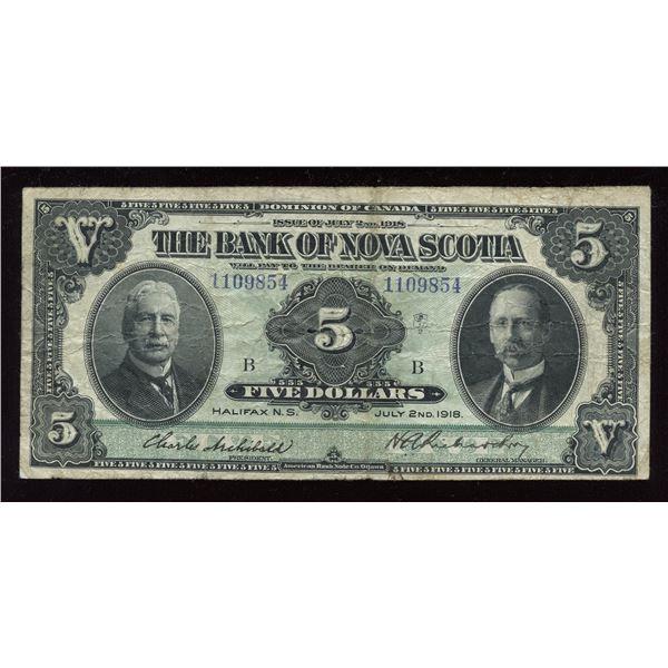 Bank of Nova Scotia $5, 1918