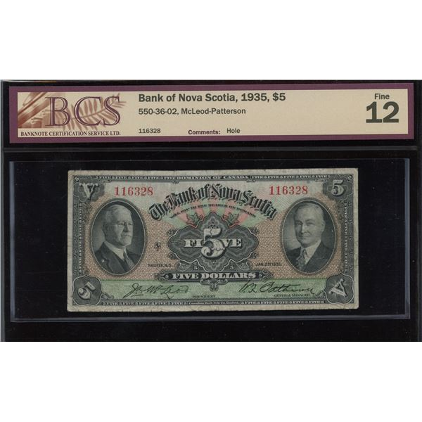 Bank of Nova Scotia $5, 1935
