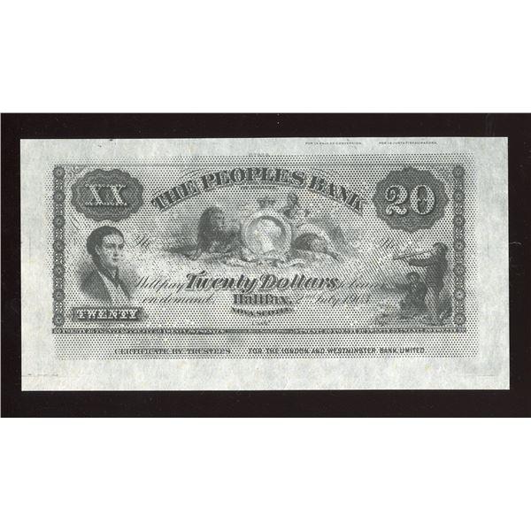 Peoples Bank of Halifax $20, 1903