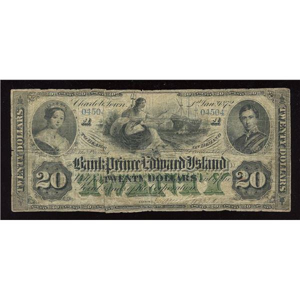 The Bank of Prince Edward Island $20, 1872