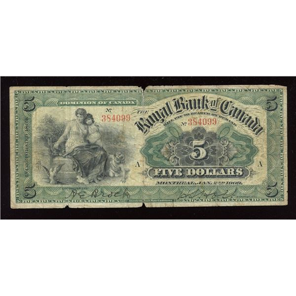 The Royal Bank of Canada $5, 1909