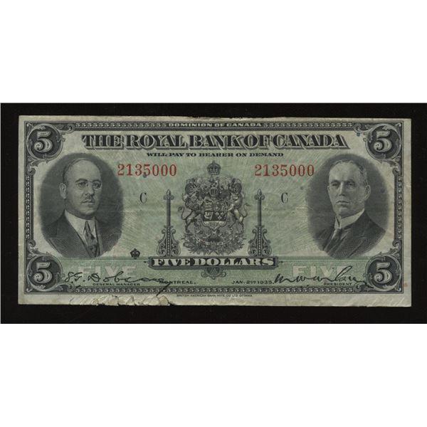 Royal Bank of Canada $5, 1935