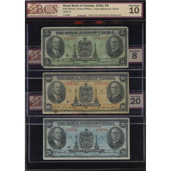 Royal Bank of Canada $5, $10 & $20, 1935 BCS Graded Set