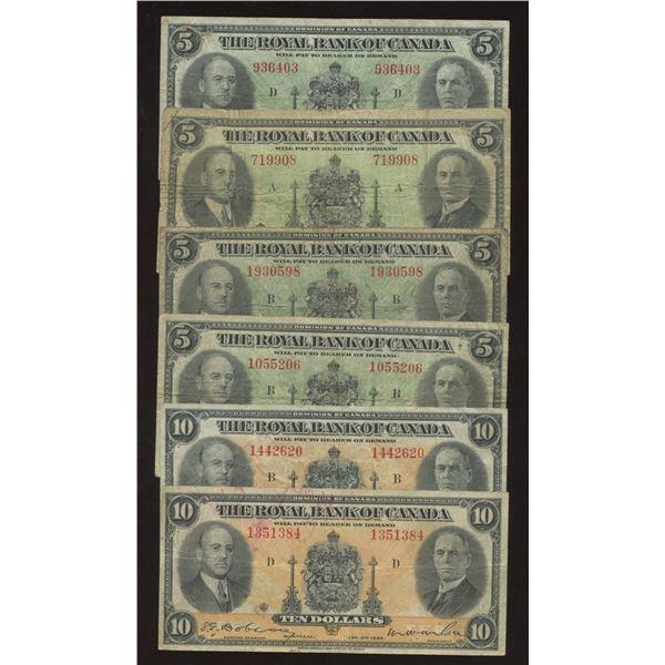 Royal Bank of Canada $5 & $10 1935 Lot (6)