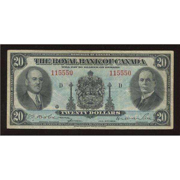 Royal Bank of Canada $20, 1935