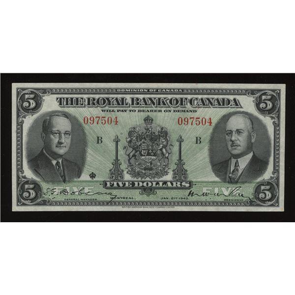 Royal Bank of Canada $5, 1943