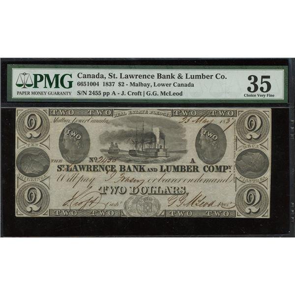 St. Lawrence Bank & Lumber Company $2, 1837